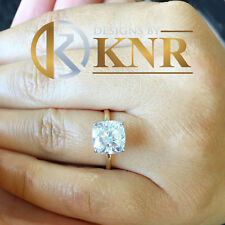 14K YELLOW GOLD CUSHION FOREVER ONE MOISSANITE ENGAGEMENT RING SOLITAIRE 4.00ct