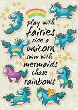 Unicorn Quote Rainbow Girls Bedroom Giant Poster - A4 A3 A2 A1 Sizes