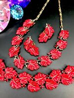 "RARE LISNER MOLDED RED ""JELLY"" LUCITE RHINESTONE NECKLACE BRACELET EARRINGS SET"