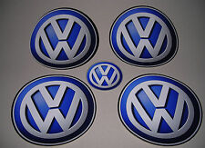 lot 4 Stickers Volkswagen 21 cm diamètre plat tunning autocollant Blanc/Bleu TBE