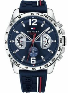 Tommy Hilfiger Sport Blue Silicone Strap with Stripes Men's Watch - 1791476