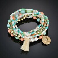 6Pcs/Set Bohemian Multilayer Tassel Bracelets Women Boho Beads Bangle Jewellery