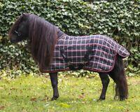 QHP Falabella Stalldecke Mini-Shetty  200 g Winterdecke Pony, Karo schwarz