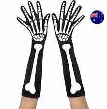 Adult Party Costume Halloween Ghost Gothic Black Skull Skeleton Bone Long Gloves