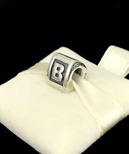 Pandora Letter B Block Alphabet Initial Charm Silver S925 ALE + Box 790323B