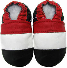 carozoo soft sole leather baby shoes red white black 5-6y