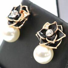 Vintage Round White Akoya Pearl Diamond Rose Flower Earrings Nickel Free Jewelry