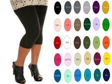 Cotton Spandex Women Plus Size Capris Leggings Yoga Crops 32 Colors 2X -5X USA