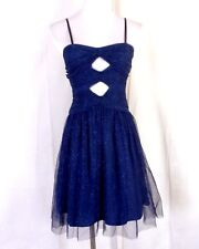 NWT new Hailey Logan by Adrianna Papell Blue Sparkly Sweetheart Dress Prom 1/2