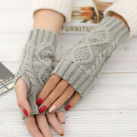 Wool Winter Men Unisex Mitten Warmer Fashion Fingerless Knitted Gloves Arm