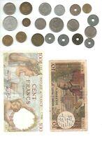 FRANCE : 20 pièces +2 billets 100frs /10 frs