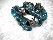 TWIN GECKO LIZARD 2 TONE BLUE COLOR CRYSTALS OPENS IN FRONT DAZZLING BRACELET