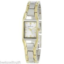 NEW ANNE KLEIN TWO,2 TONE SILVER+GOLD+RECTANGLE ROMAN NUMERAL WATCH 10/6419SVTT