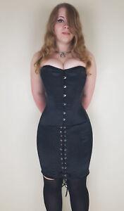 Hobble corset, dress, tight lacing, steel bones, overbust, black satin, uk