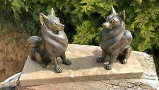 Vintage Art Deco Spelter Dogs on Marble Base Ornament Figures *