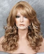Blonde mix  Big Curly Wavy Glamorous New Wig w Bangs WBBL 14-24
