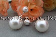 S042015 16mm Sea Shell Pearl Earrings-925 Silver Stud