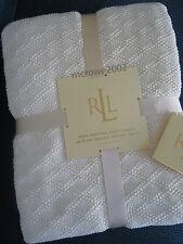 Ralph Lauren CREAM THROW Blanket DIAMOND Woven Matelasse Cotton 50x70 IVORY new