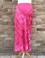 Monsoon Skirt UK 10 Pink Red Floral Lace Sequins Silk Blend Boho Hippie Blogger