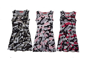 Girls Camouflage Summer Dress 2-12 Years Khaki Pink Ceries