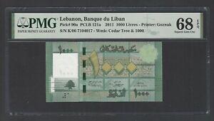 "Lebanon 1000 Lira 2011 P90a ""Radar Serial Number"" Uncirculated Grade 68 Top Pop"