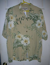 Jamaica Jaxx XXL 100% Silk Button Down Hawaiian Shirt Hibiscus Tropical Leaves