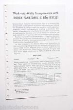 Kodak 1968 Panatomic-X FX135 F-19 Film Info Guide - English - USED B20