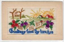 More details for greetings from the trenches: ww1 embroidered silk postcard (c39685)