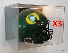 ACRYLIC WALL MOUNT FOOTBALL HELMET DISPLAY CASE Lot of 3 NFL NCAA FULL SIZE A