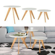 Wonderful  Modern White  3pcs Round Coffee  Side Tables Furniture UK STOCK