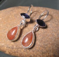 Sterling silver everyday style sunstone & cut blue iolite earrings. Gift bag