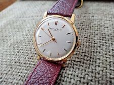 IWC Schaffhausen White Dial 18K Solid Gold Case Manual Mens Watch Authentic