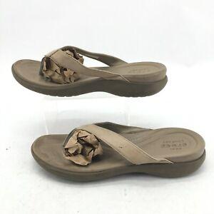 Crocs Capri V Flip Flop Womens 10 Beige Dual Comfort Casual Leather Strap Thong