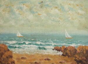 Vintage Fauvist oil painting landscape seascape signed