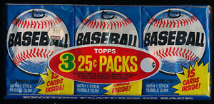 1980 TOPPS WAX TRAY - RARE - 3 ORIGINAL UNOPENED PACKS, RICKY HENDERSON ROOKIE?