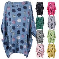 New Ladies Italian Multicolor Polka Dot Cotton Top Women Lagenlook Top