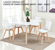 Lanzo Dining Set 4 x Lanzo Padded Dining Chairs & White Halo Dining Table NEW