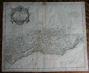 Original Engraved Map of Great Britain - SUSSEX - by Robert Morden in 1695