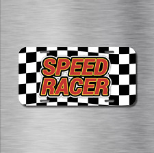 Speed Racer Vehicle License Plate, Front Auto Tag Racing JDM Checkered Flag NEW