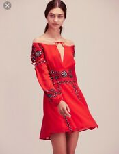 For Love And Lemons Mini Dress Niccola Red SZ Xs Free People Embroidered