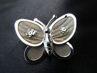 ANTIQUE VINTAGE SILVER PLATED MESH BUTTERFLY BUG BROOCH ART NOUVEAU STYLE PRETTY