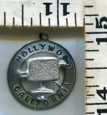 VINTAGE STERLING BRACELET CHARM~#85358~HOLLYWOOD CALIFORNIA W/ MOVIE CAMERA~$16!