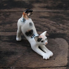 Stretching 3-Color Cat Calico Cat Figurine Cats Ceramic Collection Collectibles