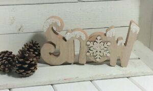 Christmas Wooden Cut Out Snow Snowflake Glittery Freestanding Sign 19x9.5x2cm