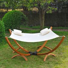 Outsuuny Wooden Frame Garden Outdoor Hammock Swing Patio Sun Bed Lounger Pillow