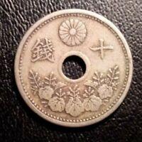 1920 Year 9 Japanese 5 Sen Coin -Rarely Found Vintage Gem-