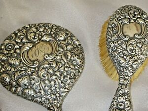 ANTIQUE GORHAM 1892  STERLING  DRESSER SET MIRROR & BRUSHES REPOUSSE GORGEOUS!!