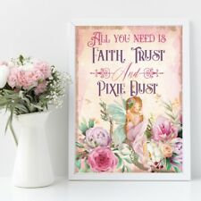 Fairy Print, Faith Trust & Pixie Dust, Peter Pan Quote, Kids Wall Art Picture