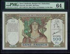 P-42e New Caledonia Banque de l'Indochine100 Francs 1963 UNC PMG64