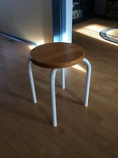 44 cm Tall Round Wood Table with Metal Legs